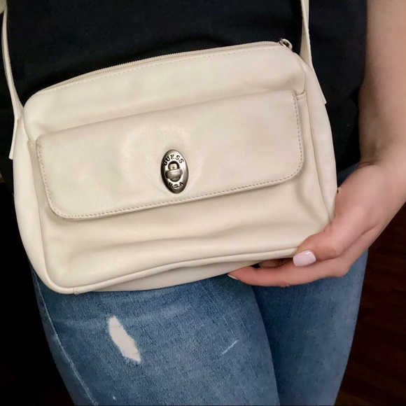 Guess Handbags - Guess Creme Leather Crossbody
